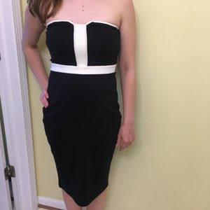 Strapless Black with White Detail Express Dress